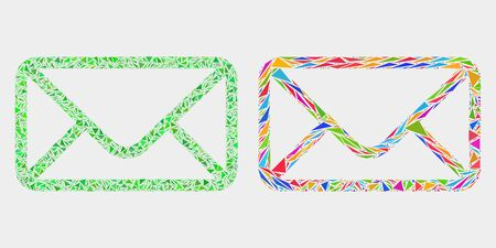 Envelope collage icon of triangle elements which have variable sizes and shapes and colors. Geometric abstract vector design concept of envelope. 矢量图像