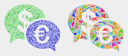 Financial chat collage icon of triangle elements which have different sizes and shapes and colors. Geometric abstract vector design concept of financial chat.