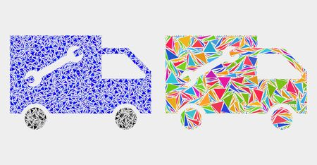 Service van mosaic icon of triangle elements which have variable sizes and shapes and colors. Geometric abstract vector illustration of service van.