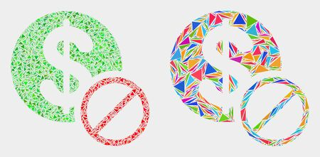 Forbidden dollar mosaic icon of triangle elements which have various sizes and shapes and colors. Geometric abstract vector illustration of forbidden dollar. Illustration