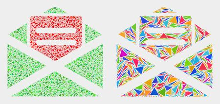 Open mail mosaic icon of triangle elements which have variable sizes and shapes and colors. Geometric abstract vector illustration of open mail.