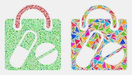 Drugs shopping bag collage icon of triangle items which have various sizes and shapes and colors. Geometric abstract vector design concept of drugs shopping bag.