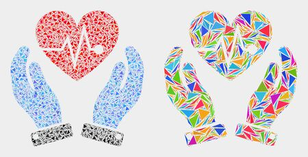 Heart surgery care hands mosaic icon of triangle elements which have different sizes and shapes and colors. Geometric abstract vector illustration of heart surgery care hands.