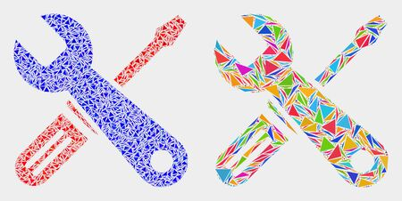 Repair tools mosaic icon of triangle items which have variable sizes and shapes and colors. Geometric abstract vector illustration of repair tools. Ilustração