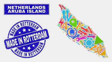 Mosaic tools Aruba Island map and Made in Rotterdam seal stamp. Aruba Island map collage composed with scattered colored equipment, palms, service symbols.