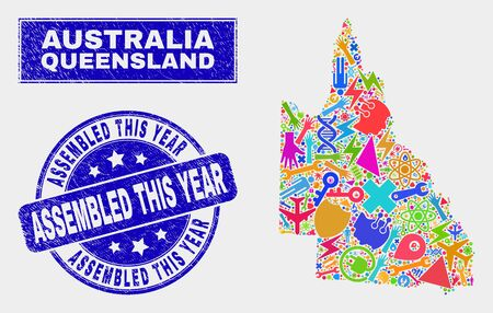 Mosaic service Australian Queensland map and Assembled This Year stamp. Australian Queensland map collage designed with scattered colorful tools, palms, industry items.