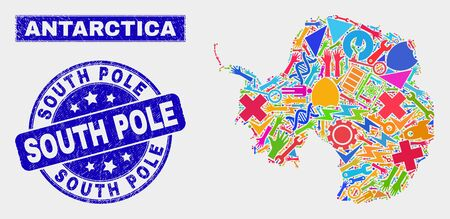 Mosaic service Antarctica continent map and South Pole watermark. Antarctica continent map collage formed with scattered colored tools, palms, service items.