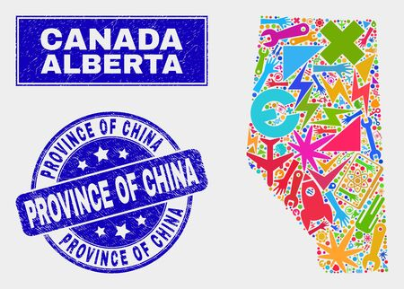 Mosaic industrial Alberta Province map and Province of China seal stamp. Alberta Province map collage made with randomized colored equipment, palms, production icons.