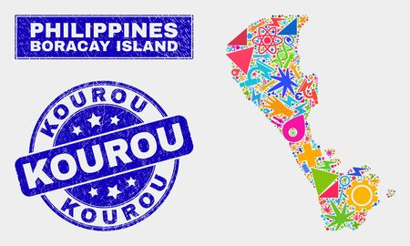 Mosaic service Boracay Island map and Kourou stamp. Boracay Island map collage designed with scattered colorful equipment, palms, service symbols. Blue rounded Kourou seal with unclean texture.
