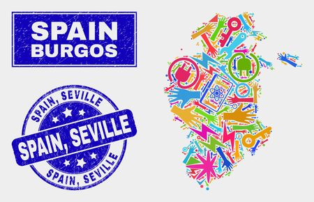 Mosaic tools Burgos Province map and Spain, Seville seal. Burgos Province map collage formed with randomized colored equipment, hands, service icons. Blue round Spain,
