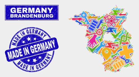 Mosaic service Brandenburg Land map and Made in Germany seal stamp. Brandenburg Land map collage made with random colored tools, palms, security icons. Banque d'images - 126085366