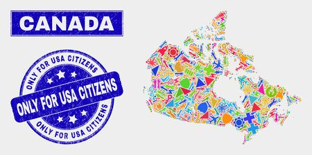 Mosaic service Canada map and Only for USA Citizens seal stamp. Canada map collage formed with scattered colorful tools, palms, service elements. Çizim