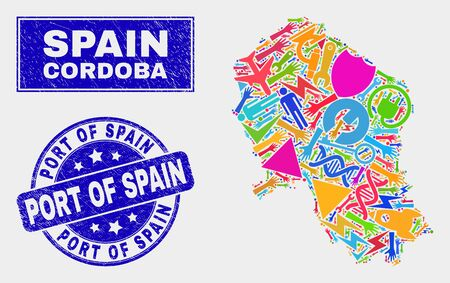 Mosaic industrial Cordoba Spanish Province map and Port of Spain seal stamp. Cordoba Spanish Province map collage made with random colored equipment, palms, industrial symbols.