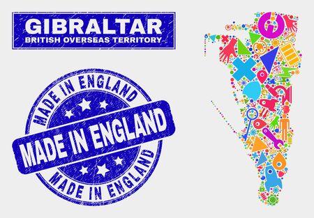 Mosaic service Gibraltar map and Made in England seal. Gibraltar map collage designed with randomized colored tools, palms, production items. Illustration
