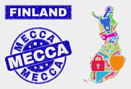 Mosaic service Finland map and Mecca seal stamp. Finland map collage designed with scattered colorful tools, palms, security symbols. Blue round Mecca seal stamp with scratched texture.