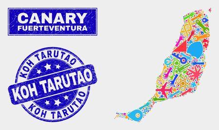 Mosaic tools Fuerteventura Island map and Koh Tarutao seal. Fuerteventura Island map collage made with random colored tools, hands, service symbols.