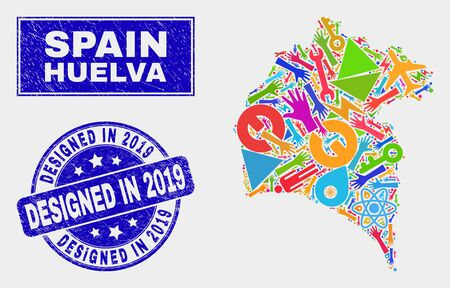 Mosaic industrial Huelva Province map and Designed in 2019 seal stamp. Huelva Province map collage formed with random colored tools, hands, service items. Banque d'images - 126085575