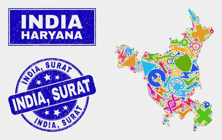Mosaic technology Haryana State map and India, Surat seal stamp. Haryana State map collage composed with randomized colored equipment, hands, service items. Blue round India, Stock Vector - 126085578
