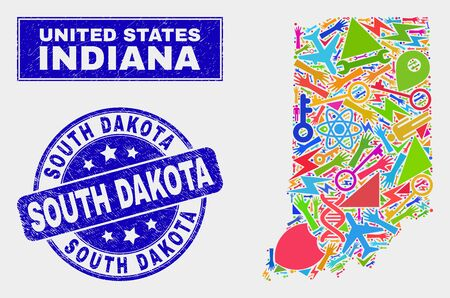 Mosaic service Indiana State map and South Dakota seal stamp. Indiana State map collage designed with random colored equipment, hands, service elements. Illustration