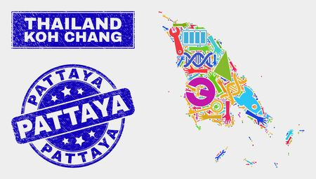 Mosaic technology Koh Chang map and Pattaya seal stamp. Koh Chang map collage designed with scattered colored tools, hands, service elements. Blue rounded Pattaya watermark with grunge texture. 일러스트