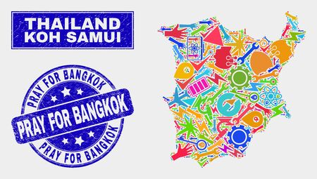 Mosaic technology Koh Samui map and Pray for Bangkok seal stamp. Koh Samui map collage constructed with randomized bright equipment, palms, production elements.