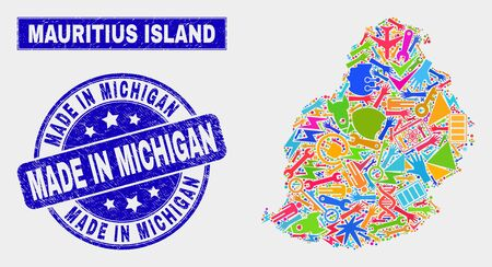 Mosaic tools Mauritius Island map and Made in Michigan seal stamp. Mauritius Island map collage designed with scattered colored tools, palms, production items. Illustration