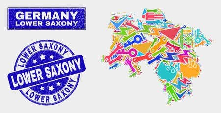 Mosaic technology Lower Saxony Land map and Lower Saxony seal stamp. Lower Saxony Land map collage created with randomized bright equipment, hands, service icons. Vector Illustration