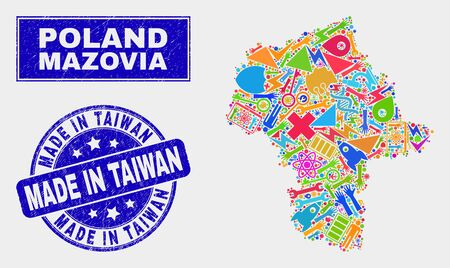 Mosaic service Masovian Voivodeship map and Made in Taiwan seal. Masovian Voivodeship map collage formed with scattered colorful equipment, hands, service items.