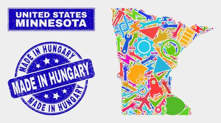 Mosaic service Minnesota State map and Made in Hungary seal stamp. Minnesota State map collage created with scattered colorful equipment, hands, service items. Banque d'images - 126085777