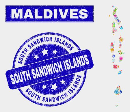 Mosaic industrial Maldives map and South Sandwich Islands watermark. Maldives map collage created with randomized colored equipment, palms, industrial items.