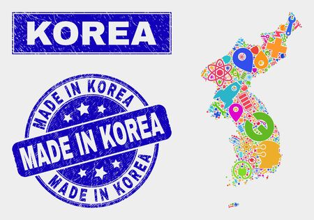 Mosaic tools Korea map and Made in Korea seal stamp. Korea map collage designed with scattered colored tools, hands, industry symbols. Blue round Made in Korea stamp with scratched texture.