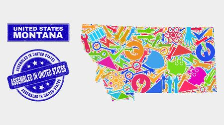 Mosaic industrial Montana State map and Assembled in United States seal stamp. Montana State map collage made with randomized colorful equipment, palms, industrial symbols. Banque d'images - 126085841