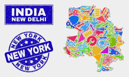 Mosaic service New Delhi City map and New York seal stamp. New Delhi City map collage constructed with randomized bright equipment, hands, industry items. Illustration