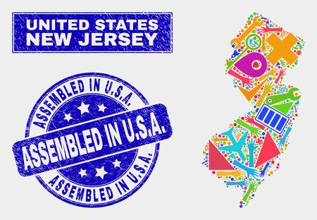 Mosaic service New Jersey State map and Assembled in U.S.A. seal stamp. New Jersey State map collage created with scattered colored equipment, hands, service icons. Blue rounded Assembled in U.S.A.