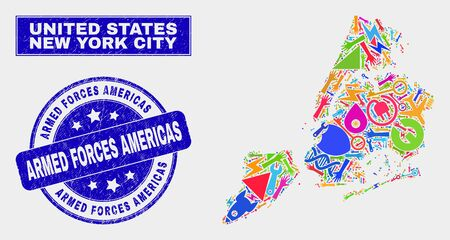 Mosaic industrial New York City map and Armed Forces Americas seal stamp. New York City map collage made with random bright tools, palms, service symbols.