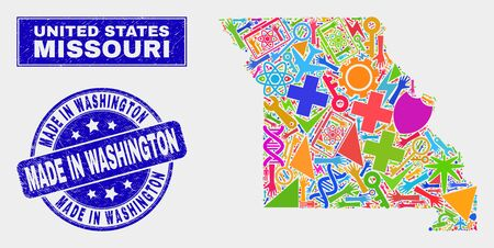 Mosaic tools Missouri State map and Made in Washington stamp. Missouri State map collage designed with randomized colored tools, hands, service symbols.