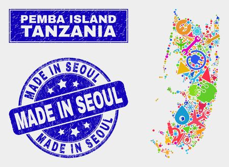 Mosaic technology Pemba island map and Made in Seoul seal stamp. Pemba island map collage composed with scattered bright equipment, palms, industry elements.