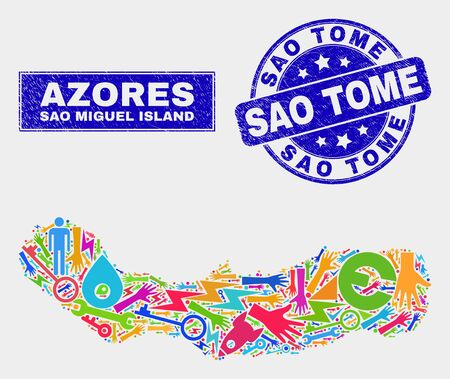 Mosaic tools Sao Miguel Island map and Sao Tome seal stamp. Sao Miguel Island map collage constructed with scattered colorful tools, palms, production elements. Ilustração