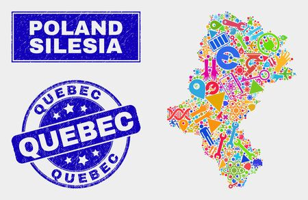 Mosaic service Silesian Voivodeship map and Quebec watermark. Silesian Voivodeship map collage made with randomized colored equipment, palms, production symbols.