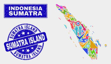 Mosaic industrial Sumatra map and Sumatra Island seal stamp. Sumatra map collage formed with scattered colorful tools, hands, security items.