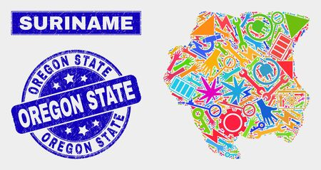 Mosaic technology Suriname map and Oregon State stamp. Suriname map collage composed with scattered colored tools, palms, service elements. Blue rounded Oregon State stamp with unclean texture.