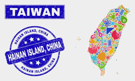 Mosaic technology Taiwan map and Hainan Island, China seal stamp. Taiwan map collage constructed with random colorful tools, palms, service items. Blue round Hainan Island, Illustration