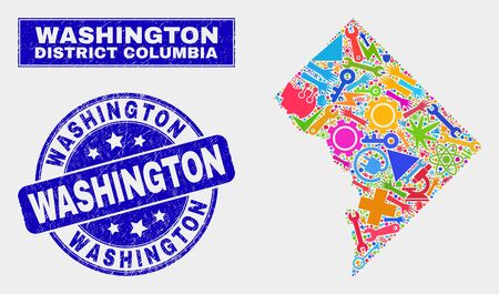Mosaic industrial Washington District Columbia map and Washington stamp. Washington District Columbia map collage created with random bright tools, palms, industrial elements.