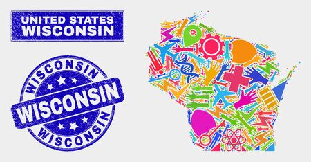 Mosaic tools Wisconsin State map and Wisconsin watermark. Wisconsin State map collage composed with randomized colored tools, palms, service elements.
