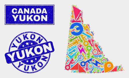 Mosaic tools Yukon Province map and Yukon stamp. Yukon Province map collage formed with scattered colored equipment, palms, service symbols. Blue round Yukon seal stamp with unclean texture.