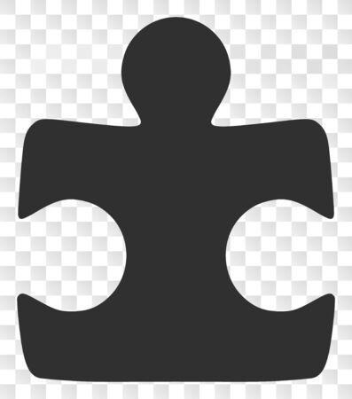 Pictograma de elemento de rompecabezas. La ilustración contiene un símbolo icónico de elemento de rompecabezas plano sobre un fondo transparente de ajedrez.