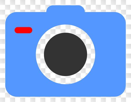 Photo camera vector icon. Illustration contains flat photo camera iconic symbol on a chess transparent background.