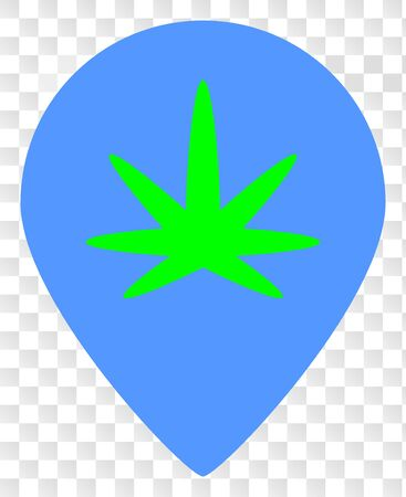 Cannabis map marker vector icon. Illustration contains flat cannabis map marker iconic symbol on a chess transparent background.