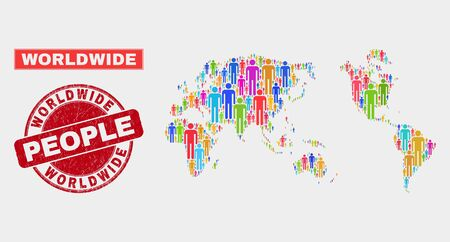 Demographic worldwide map abstraction. People colorful mosaic worldwide map of persons, and red rounded textured stamp. Vector composition for population public report. Illustration