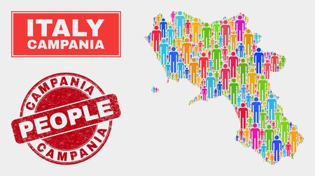 Demographic Campania region map illustration. People color mosaic Campania region map of persons, and red rounded grunge seal. Vector combination for nation public presentation.